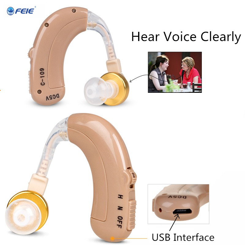 Cheap Rechargeable Power Hearing Aid Headset Earphone C-109 Mini Portable EU Charger USB Sound Amplifier Listen Up Drop Ship feie mini rechargeable hearing aid usb charger computer ajustable tone ear listen device s 109s drop shipping