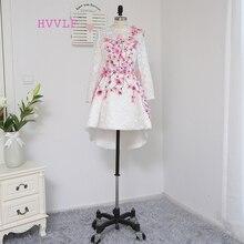 HVVLF Формальные платья знаменитостей А-силуэт с длинными рукавами кружева цветной бисер короткий спереди длинный сзади знаменитые платья для красной дорожки