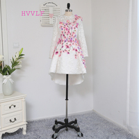 Dressgirl 2016 Formal Celebrity Dresses A Line Long Sleeves Lace Beaded Flowers Short Front Long Back