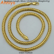 Anniyo 6MM 60CM Men Chain Necklaces Gold Color African Hip Hop Jewelry Chunky Chain Arab Items/Nigeria Gifts #052302