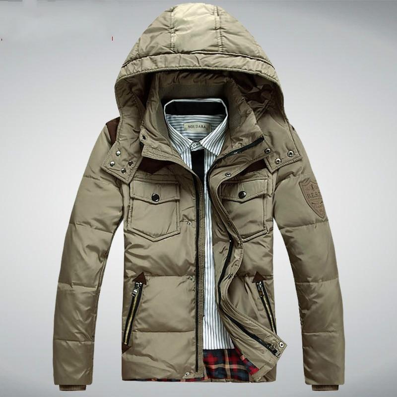 Yeni Marka erkek Beyaz Ördek Aşağı Ceket Rahat Katı Turn-dwon Yaka Parka Kış Ceket Erkekler Moda Kapşonlu palto Giyim