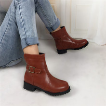 British Style Classic Women Ankle Boots Womens Motorcycle Boots Waterproof Hiking Shoes Autumn winter snow boots plus size 34-42