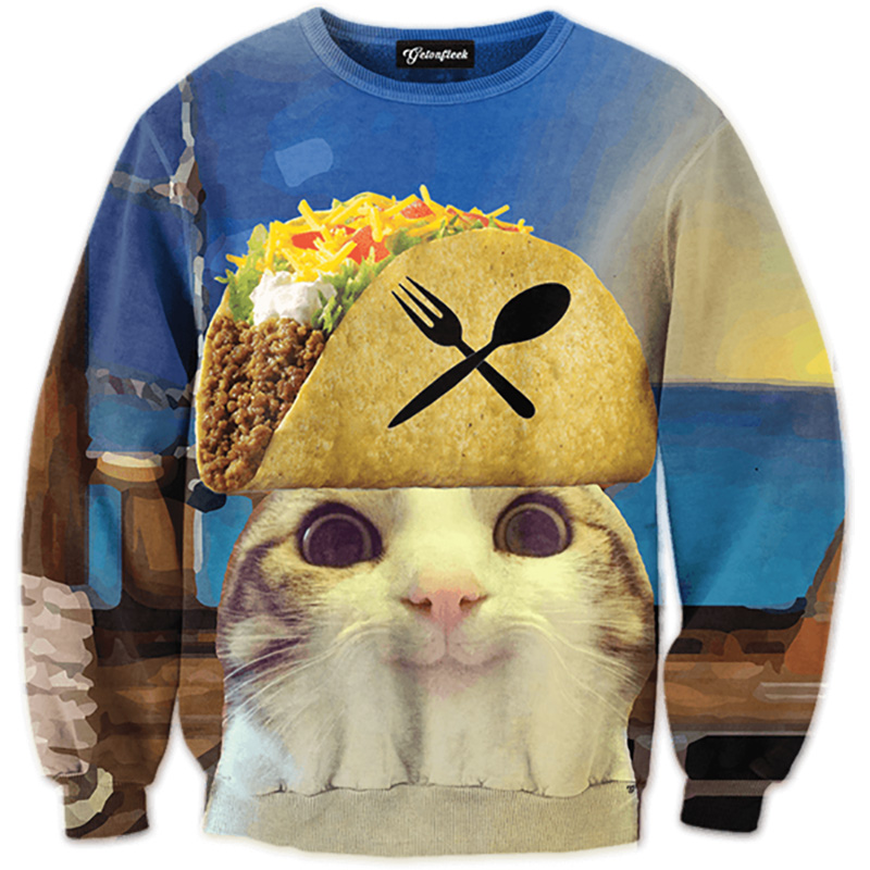 Cloudstyle 2019 Funny Animal 3D Sweatshirts Men Longsleeve Laser Cat Pizza Cat Print Fashion Pullover Harajuku Streetwear Tops