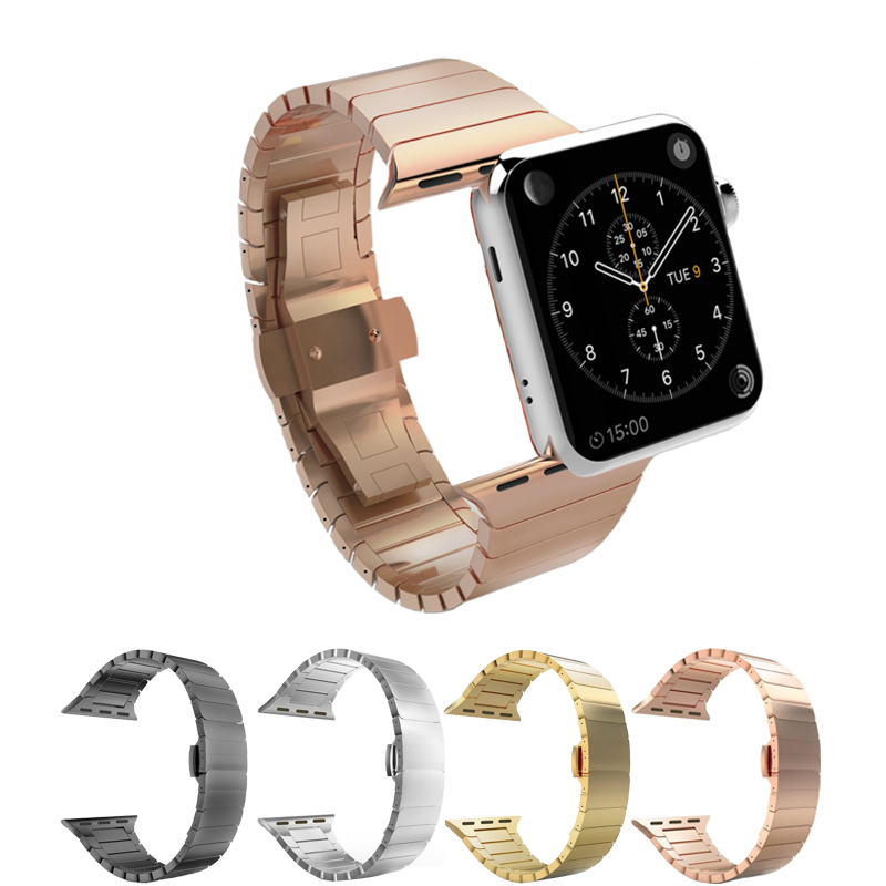 Stainless Steel Strap For Apple Watch Band 42mm 38mm 44mm 40mm Metal Butterfly Buckle Watchband For Iwatch Bracelet 5/4/3/2/1