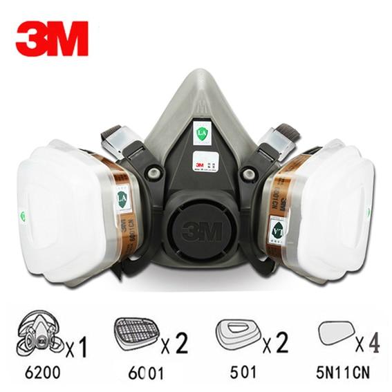 9 ב 1 חליפת 3 m חצי פנים מסכת גז Respirator ציור ריסוס אבק מסכת 6200 N95 PM2.5 גז מסכה