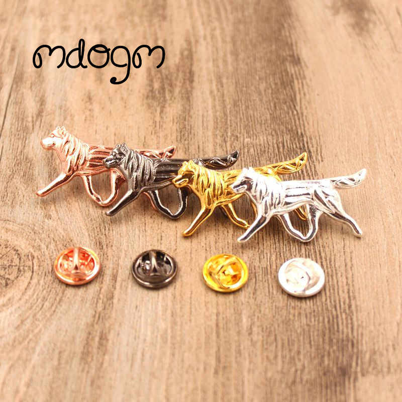 Mdogm 2019 Husky Dog Animal Brooches And Pins Cute Jewelry Suit Metal Small Father Collar Badges Gift For Male Men B004