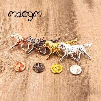 Mdogm 2019, broches y pines de perro Husky, Bonito traje de joyería, Metal, pequeño padre, cuello con insignias, regalo para hombres B004