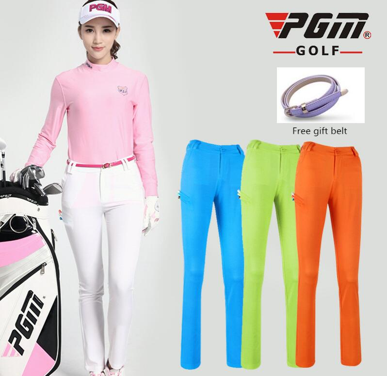 PGM Women Colorful Golf Pants Summer Slim stretch Breathable Quick Dry Anti-Pilling Womens Golf trousers Can insert TEE