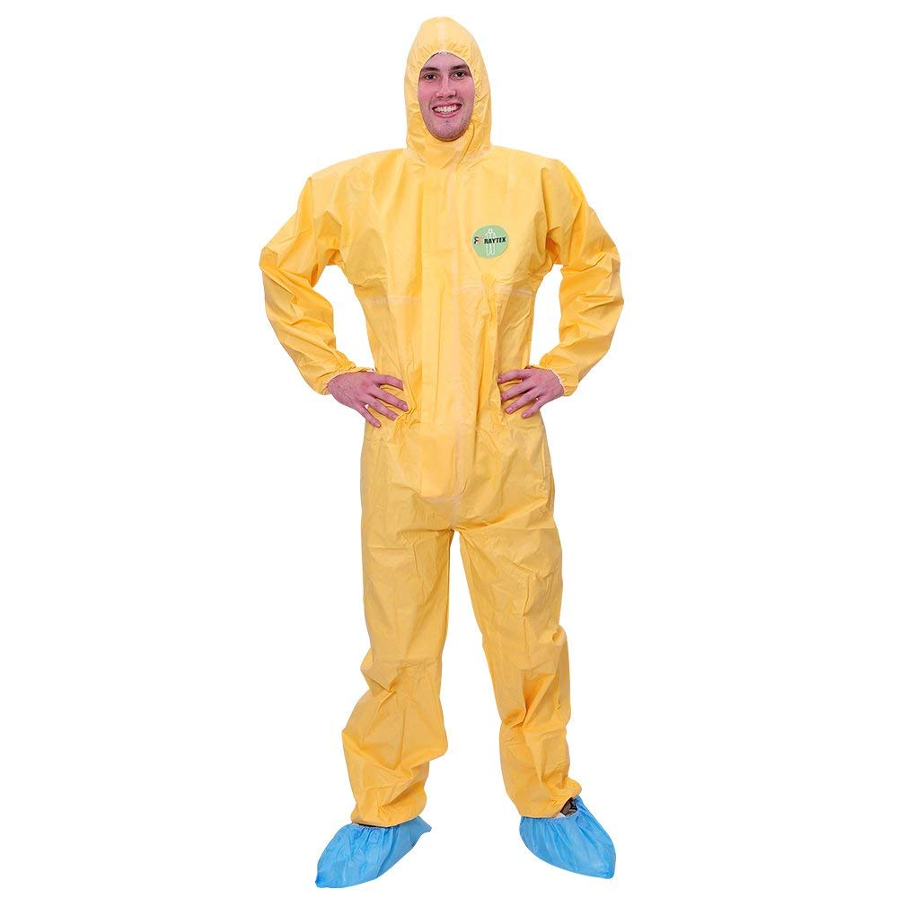 Raytex Yellow Disposable Chemical Protection Coveralls with Hood Elastic Cuffs Serged Seam Front Zipper Closure Suits for Hazard платье seam seam mp002xw18ui0