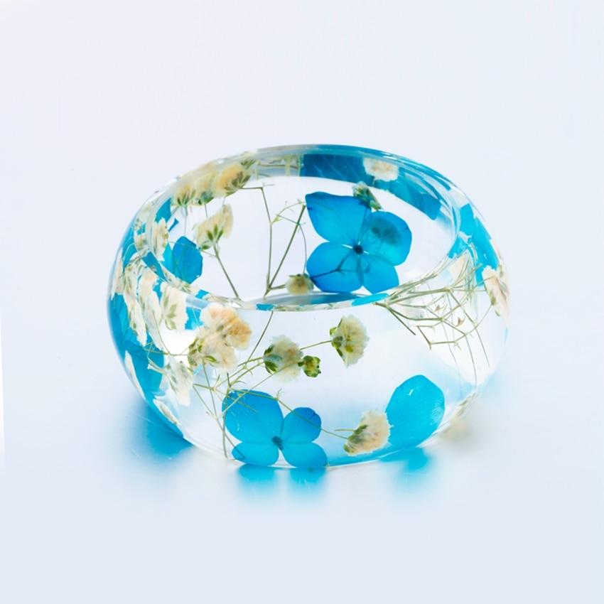 Dry Flowers Bracelets for Women Big Wide Bangle Cuff Bracelet Pincushion Babysbreath Transparent Resin Jewelry Bijoux Femme jh201 1 5cm wide luxuriant flowers