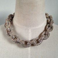 6 rows crystal pave link chain chunky collar necklace gold bib statement necklace