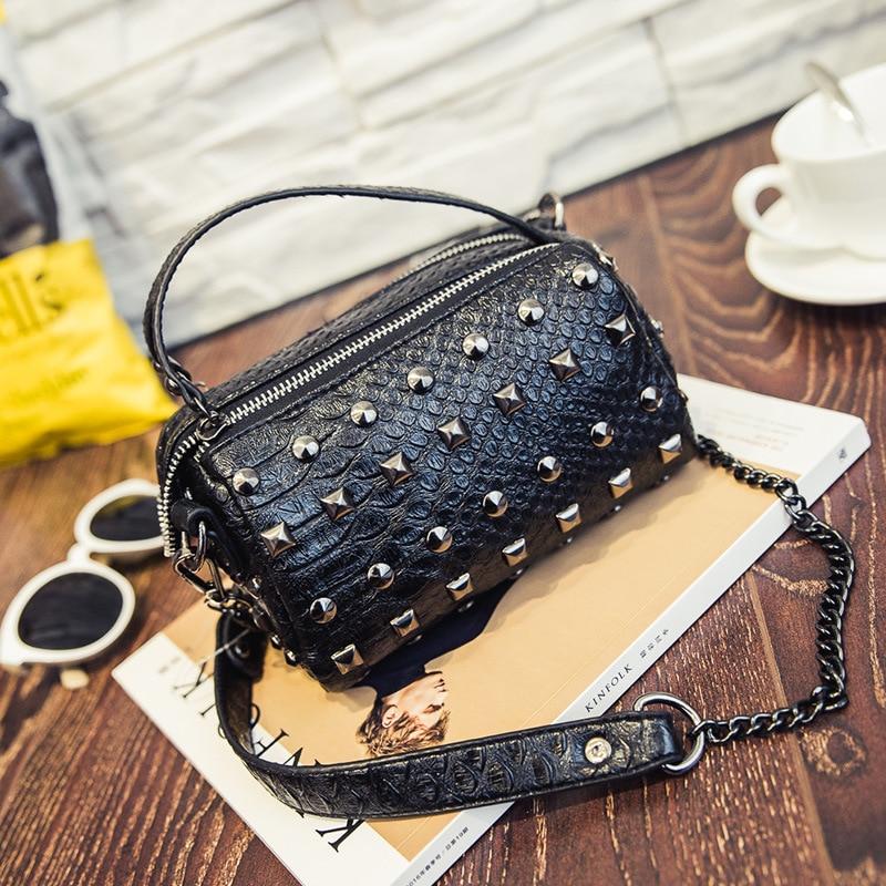 Crocodile Handbag Crossbody Bag New Boston Punk Design Fashion Ladies Women Messenger Bags PU Leather 3 Colors Optional