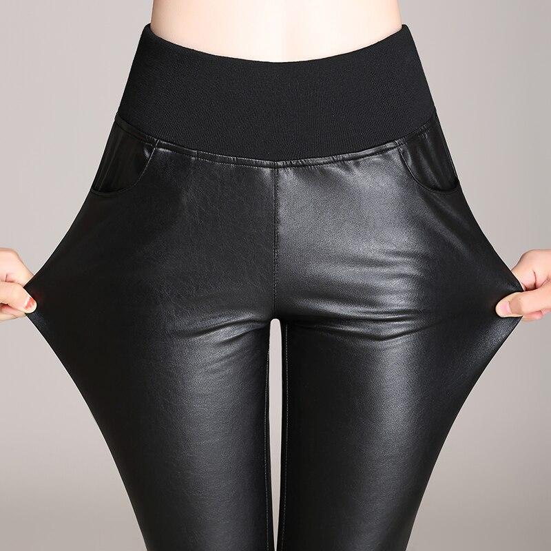 222d6bed46117 Femmes de mode PU maigre crayon pantalon automne hiver haute-élastique  leggings villosités-sandwich vin rouge 3 couleur grande taille UE S-5XL