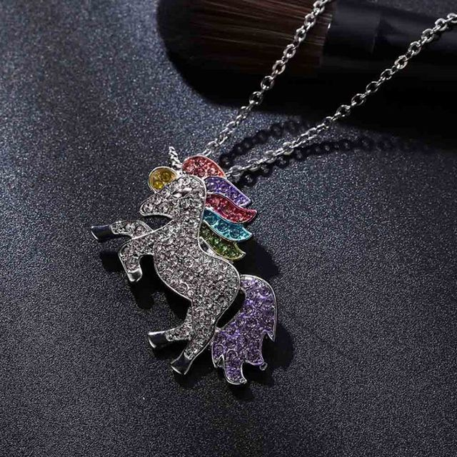 Trendy For Women Baby Gifts for High Quality Unicorn Animal Necklace Girls Rainbow Necklaces & Pendants 2