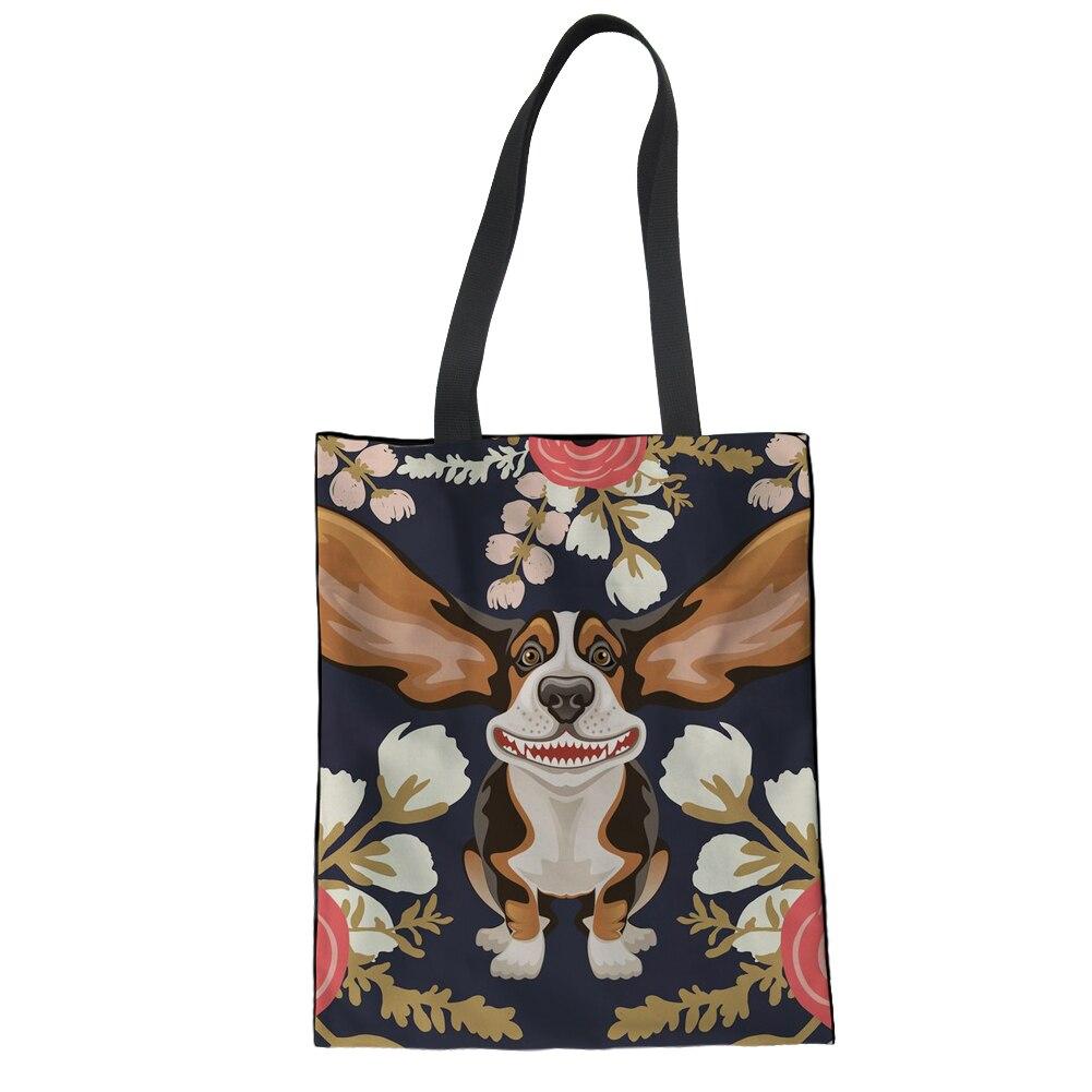 FORUDESIGNS 2019 Cute Beagles Pet Dog Folding Shopping Bag Eco Friendly Ladies Gift Floral Harajuku Reusable Tote Bag Portable
