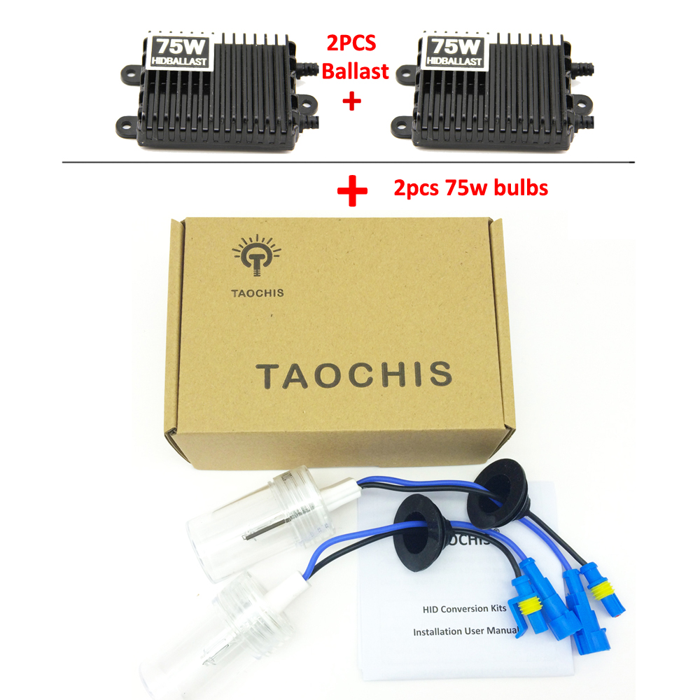 Taochis HID Xenon Conversion Bulbs 2pcs 75W Ballast kit Car Headlight H1 H3 H7 H11 9005 9006 880 881 H8 H9 Bright buildreamen2 55w 10000lm ac xenon kit ballast lamp high bright h1 h3 h7 h8 h9 h11 9005 9006 car headlight fog light 6000k white