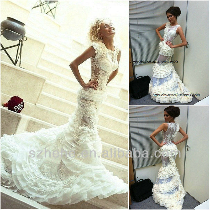 online shop free shipping cy995 see through lace mermaid cap sleeves tiered organza peplum bride wedding dress 2014 aliexpress mobile