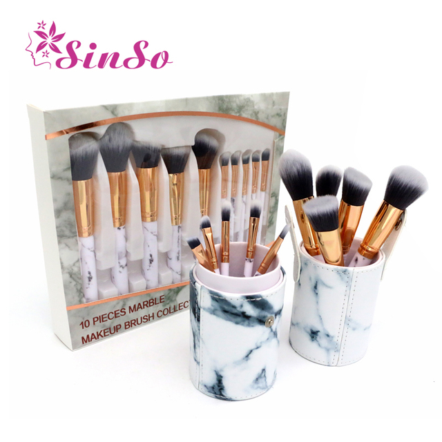 a6907fbe937 SinSo 10Pcs High Quality Makeup Brushes Professional Set Marbling Make Up  Brushes Kit Powder Foundation Cosmetic Makeup Tool