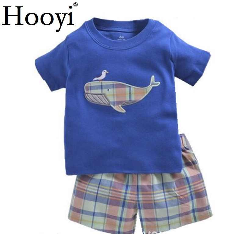 Blue Whale Baby Boy Clothes Suit Newborn Clothing Sets 6 9 12 18 24 Month T-Shirt Plaid Shorts Pant Outfits Summer Cotton Sets