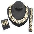 Entrega gratuita 2016 Nigeria mujeres Oro Joyería Nupcial Conjunto accesorios Collar Pendientes Pulsera perla color mezclado