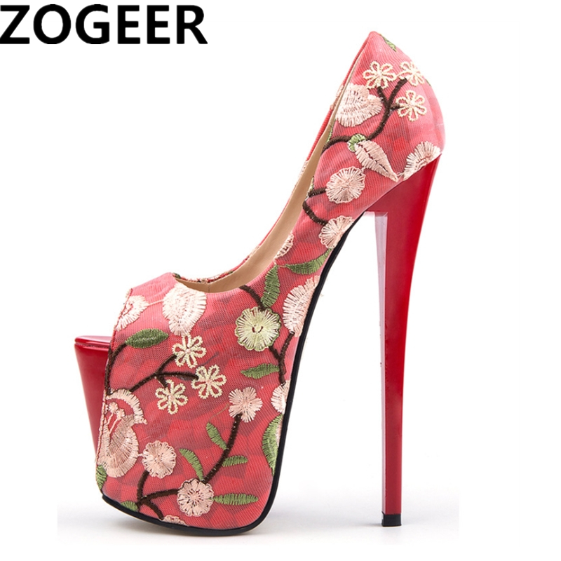 Plus Size 47 Fashion Embroidery Women Pumps Peep Toe Platform 19cm Extreme High Heels Shoes Sexy