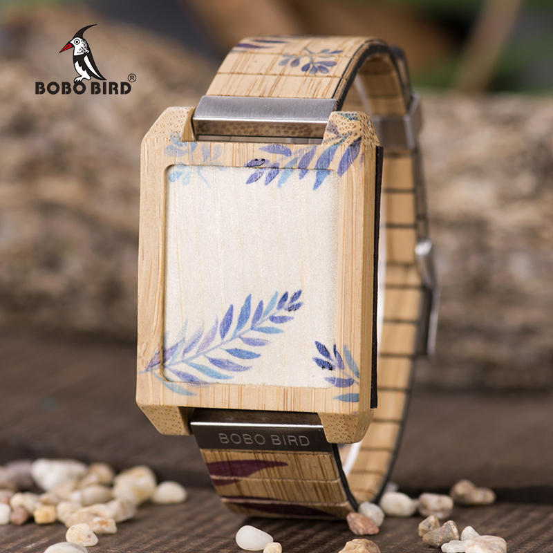BOBO BIRD LED Men Watch Touch Wooden Wristwatch Digital Electronic Display masculinos relogios Printing luxury brand bobo bird men watches wooden quartz wristwatch genuine leather strap relogios masculinos b m14