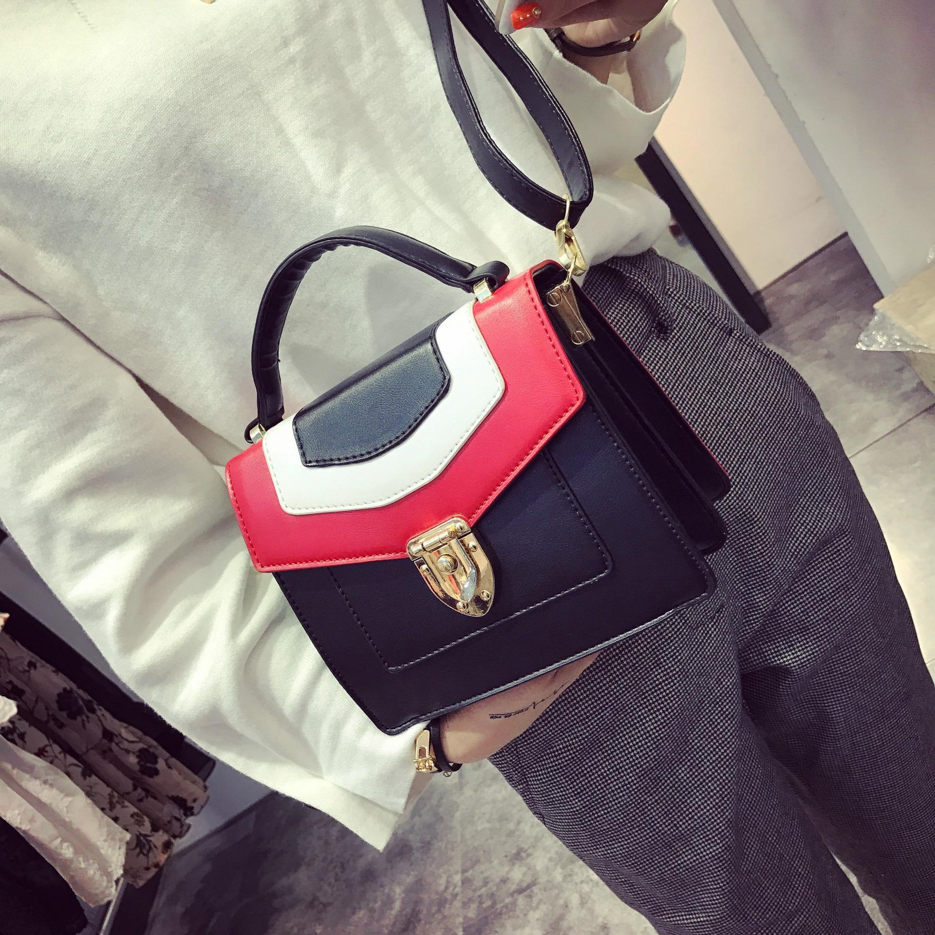 new korean retro school mini valentine handbag small stitching stella bag vintage shoulder messenger bags bucket bag with lock in shoulder bags from luggage - Valentine Bags For School