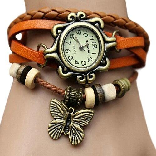 6 Colors Ladies Womens Retro Leather Watch Bracelet Butterfly Decoration Quartz Luxury Vintage Style New Design 5D9U 6YLF