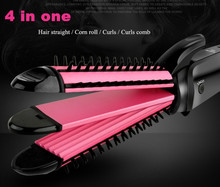 On sale 3 in 1 Styling Tool Personal hair curler Multi Curler Straightener Professional Hair Curling Iron Brish Hair Styler Wavy Roller