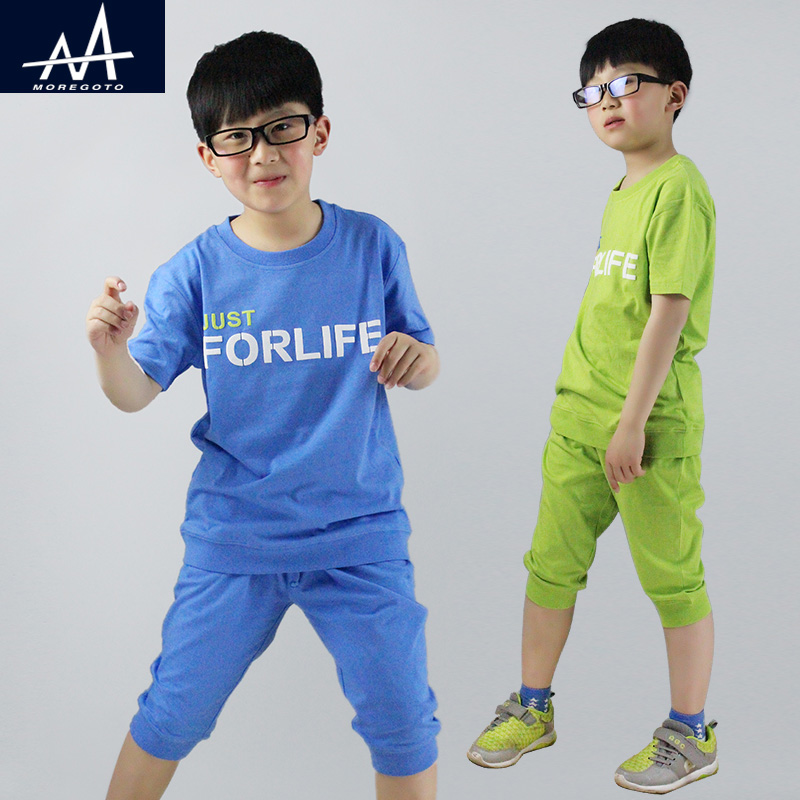 New Children 2pcs Clothing Sets Cotton 8-12Y Boys t shirt +Shorts Child Clothing Set Casual Homewear Summer Loose Clothing Sets