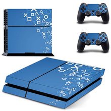 Custom blue symbols PS4 Skin Sticker Decal Cover  For Sony PS4 PlayStation 4 Console and 2 controller skins