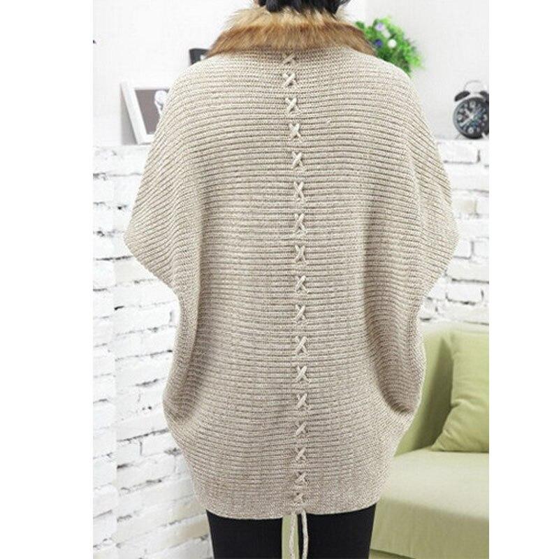 2017 Vrouw Mode Knit Haak Truien Vest Met Bontkraag Poncho Oversized