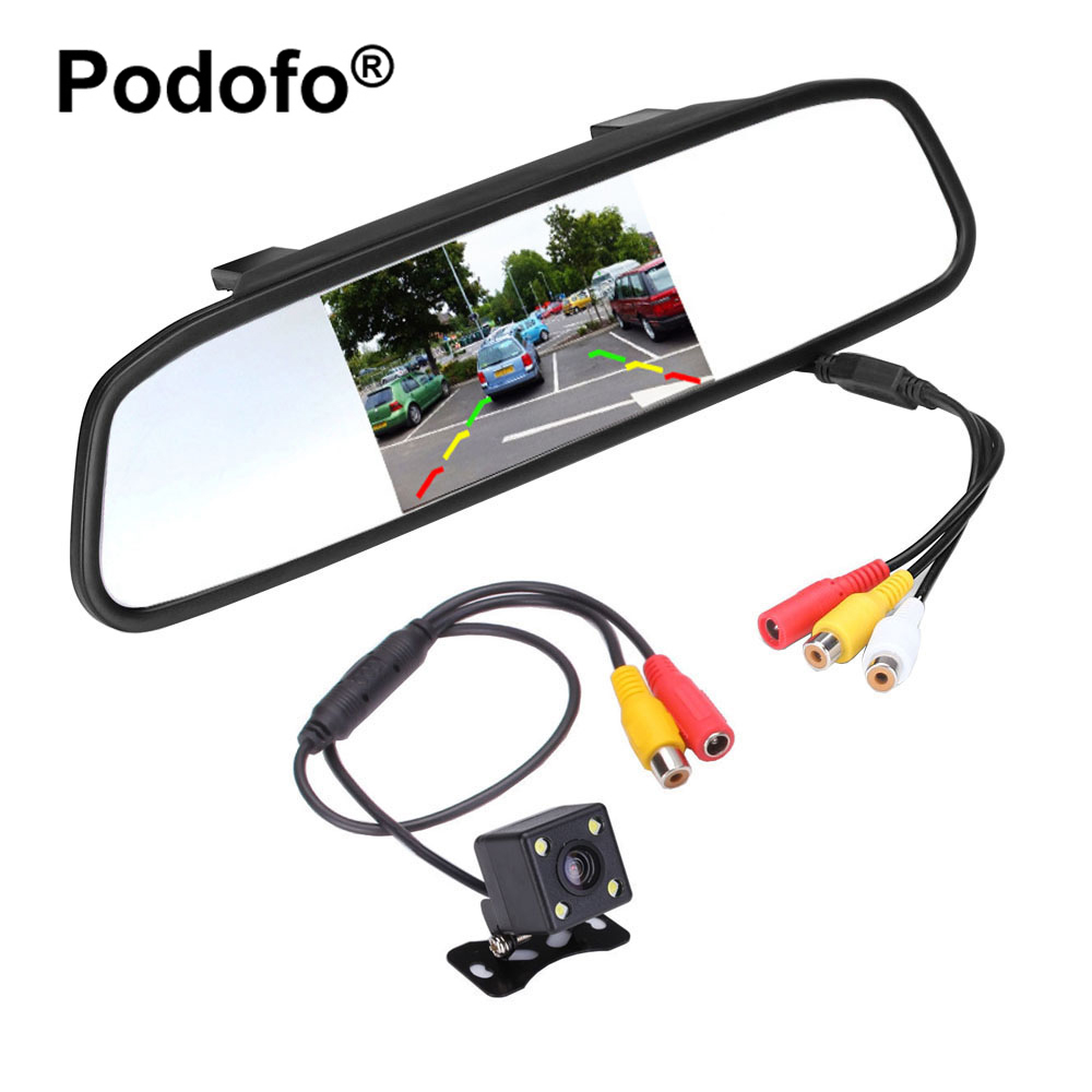 цена на Podofo 4.3 inch Car Rear View Mirror Monitor Waterproof CCD Video Auto Parking Assistance 4 LED Night Visions Rear View Camera