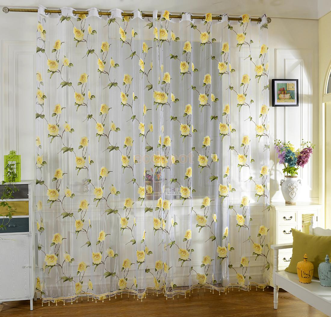 Sheer yellow curtains - Floral Tulle Sheer Voile Panel Drape Curtain For Home Window Bedroom Yellow Pink China