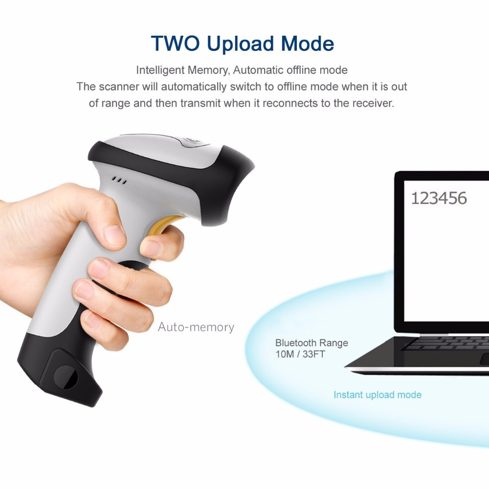 CILICO Bluetooth 1D Laser Barcode Scanner UPGRADED 2 in 1 1D Laser USB 2.0 wired/Wireles Bluetooth Barcode Scanner Gun CT10X