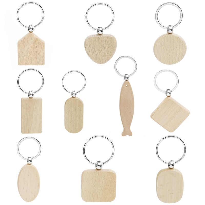 20 قطعة فارغة مستديرة مستطيل خشبي مفتاح سلسلة DIY بها بنفسك تعزيز خشب مصنوع حسب الطلب سلاسل المفاتيح العلامات الرئيسية الهدايا الترويجية