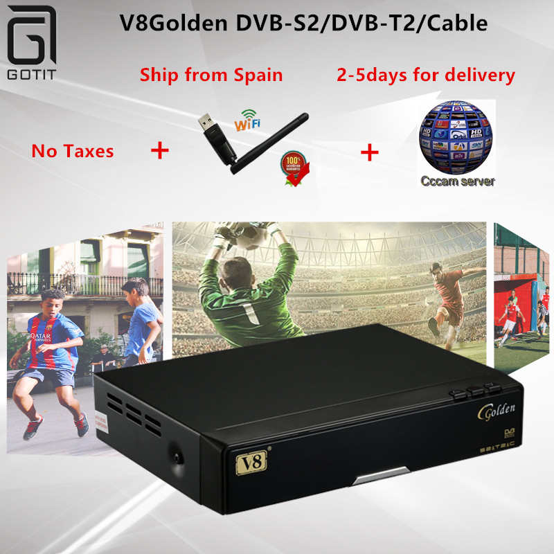 Openbox V8Golden DVB-S2/DVB-T2/Cable Satellite ComboReceiver with CCcam WetTV Youporn USB WIFI Digital Set Top Box Freeshipping