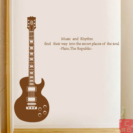 US $55 0 |Guitar Shop window decoration stickers piano bar music art  training room glass door wall stickers-in Wall Stickers from Home & Garden  on