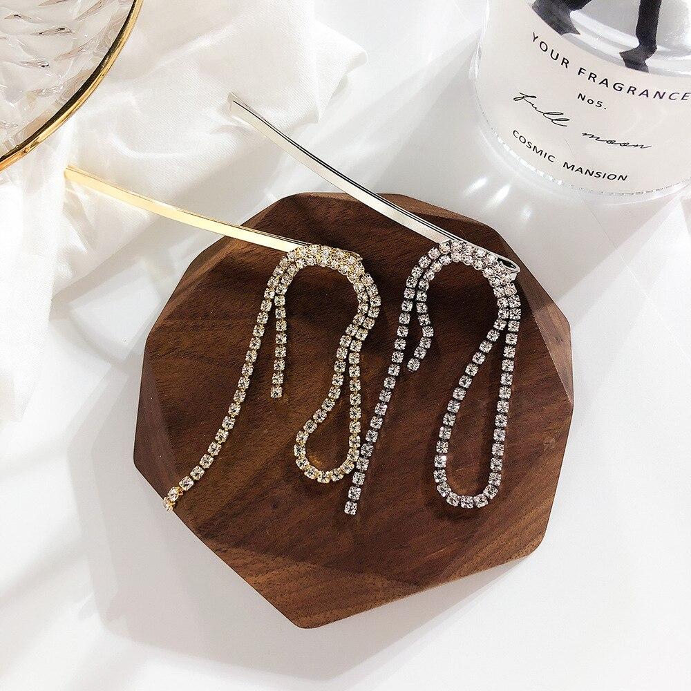 HZ 2019 New Arrival Rhinestone Hair Grip Fashion Long Tassel Elegant  Hair Clips Barrettes Hair Accessories For Women Party