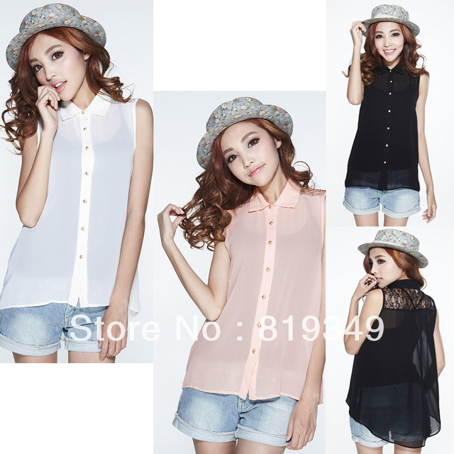 FREE SHIPPING 2013 NEW VANCL Women Blouse Kadisha Sleeveless Chiffon Shirt Elegant Solid Wear Raw White/Light Pink/Black