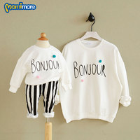 Mamimore Fashion Family Matching Clothes Autumn Letter Monther Kids Clothes Cotton Long Sleeved T Shirt Baby