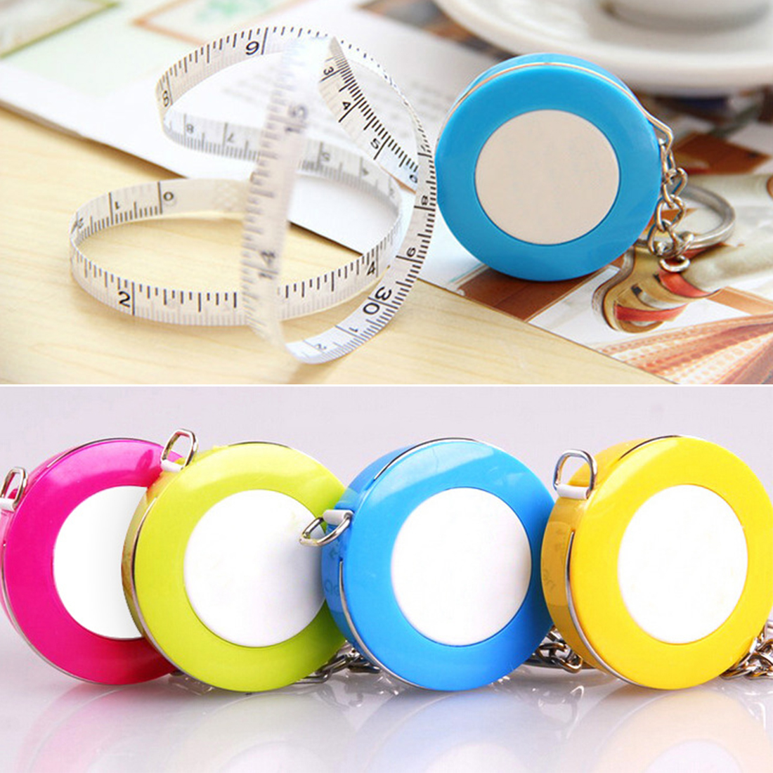 Mini Tape Measure Portable Retractable Ruler Candy Color Keychain Tape Measure 1.5 Meters Quantity Clothing Size
