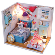 Diy Dollhouse 3D Wooden Handmade Miniature Furniture Kit Toys with Led Lights for Children Birthday Christmas Holiday Gifts(China)