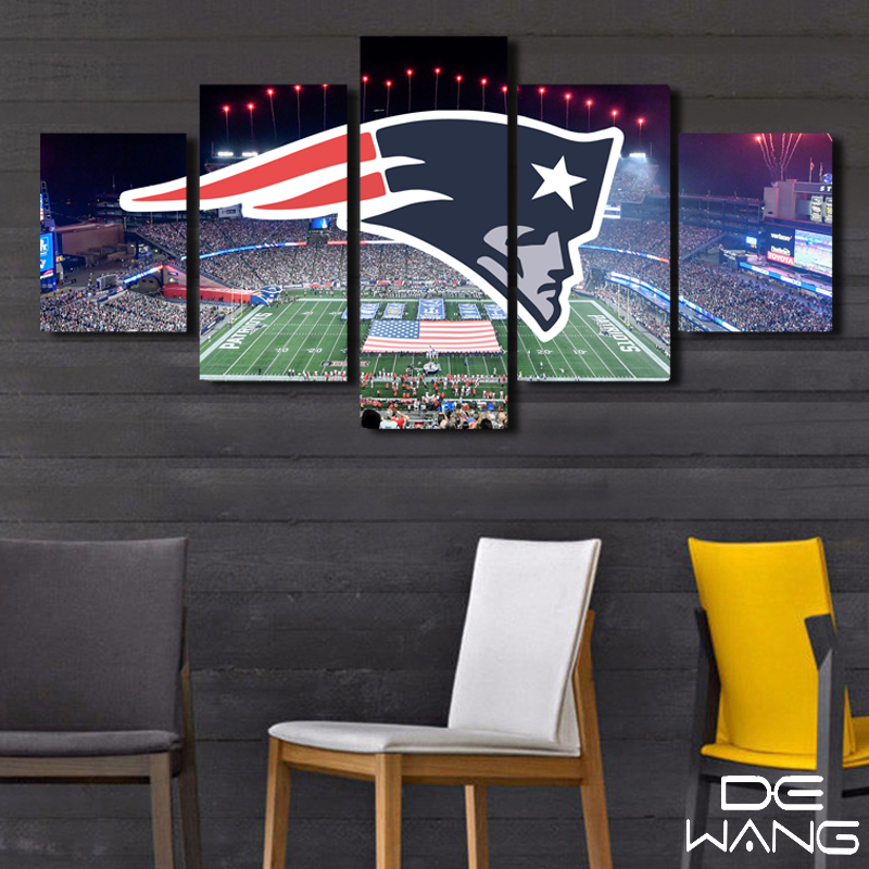 5 Piece Canvas Art New England Patriots Stadium Posters Canvas ...