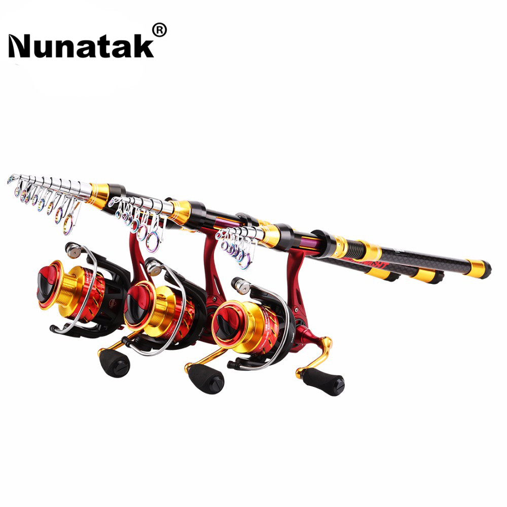 Nunatak Fishing Rods Combo Reels 1.8 m-3.6 m Carbon Telescopic Rod + 5.2: 1 11BB FENICE 2000/3000/4000 Spinning Reel Fishing