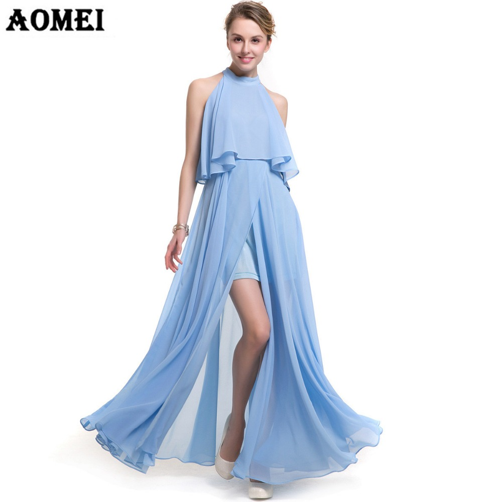 Dressing Gowns For Women: Girls New Chiffon Ruffles Maxi Long Slit Dress Sky Blue