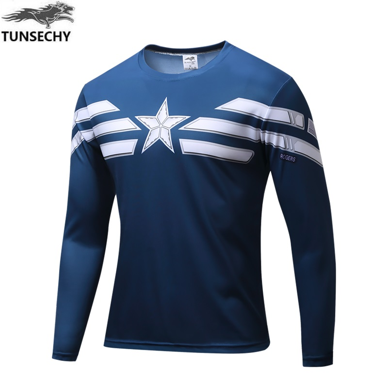 High Quality NEW 2019 Marvel Captain America 2 costume Super Hero jersey   T     shirt   Men USA cosplay clothing long sleeves
