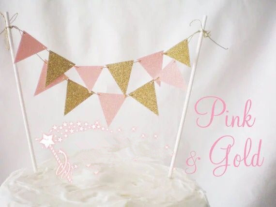 Hot Diy Pennant Birthday Party Cake Toppers Decoration Wedding Decor