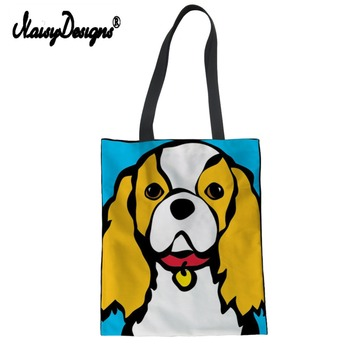 Noisydesigns Tote Bag Canvas Women Shopping Casual Handbag King Charles Spaniel Print Shoulder Daily Crossbody Cartoon For Lady buy at the price of $8 18 in aliexpress com imall com