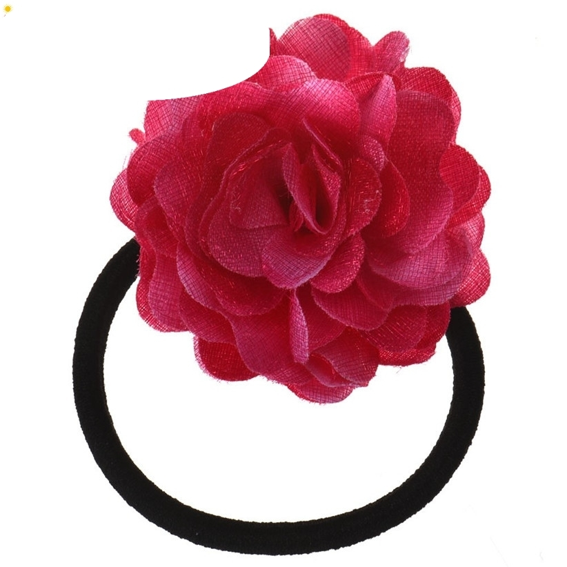 Hair Rope New Fashion Big Rose Flower Elastic Hair Bands Accessories Nice Gift July28 Drop Shipping